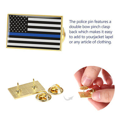 6pcs Thin Blue Line Lapel Pin Suit American US Flag  Police Mourning