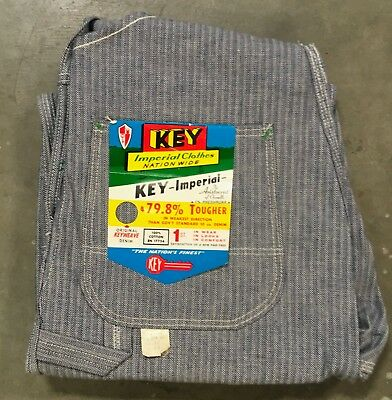 VTG NOS NWT Key Imperial Overalls 32 x 29 Hickory Striped Made In USA Bibs