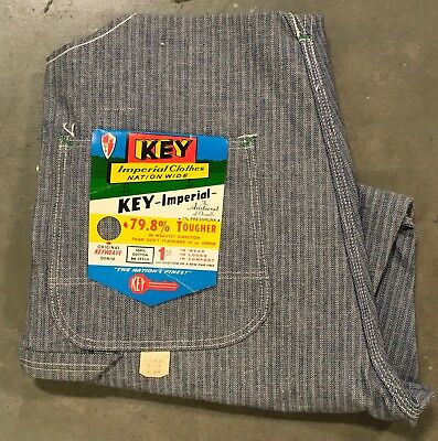 VTG NOS NWT Key Imperial Overalls 34 x 28 Hickory Striped Made In USA Bibs