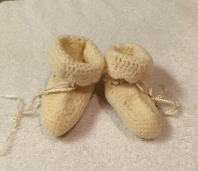 Beautiful Vintage Ivory Wool Knitted/Crochet Newborn or Doll Baby Booties