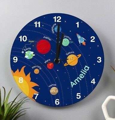 Children's Personalised Solar System Space Glass Bedroom Clock - Add Boys Name