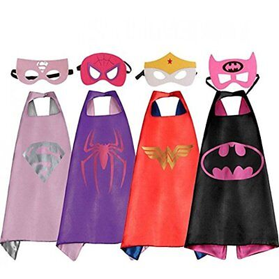 4 Set Superhero Capes and Masks for Girls Kids and Toddlers Dress Up Costumes