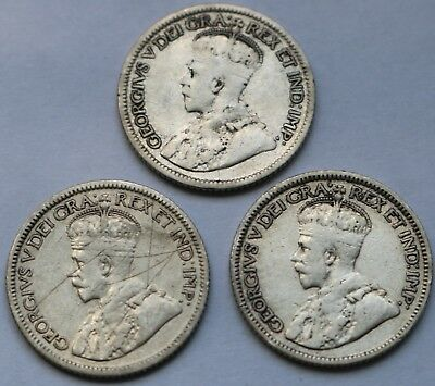 Silver Canada 10 Cents 1931 1934 1936 Free Shipping