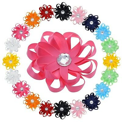 Toddler Hair Clips with Rhinestone 8-petal Flower Design -10 Pairs bows & 3 Inch