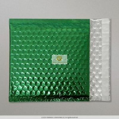 Green Metallic Bubble Wrap Lined Padded Mailing Gift Envelope / Bag CD Size