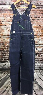 VTG NOS NWT Key Imperial Overalls 29 x 34 Blue Made In USA Bibs Cotton Denim