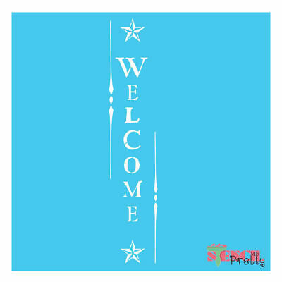 Stencil - Primitive Country WELCOME sign - U paint it- Rustic decor arts crafts