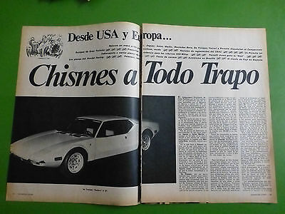 De Tomaso Pantera 1 Small  Article Note Argentinien Spanish 1972 Rare !!