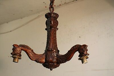 RARE GOTHIC h 1920ths ANTIQUE ART DECO  French wood horse chandelier Castle L64