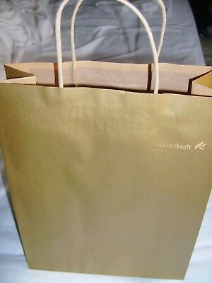 Gold Coloured Kraft Twisted Handle Paper gift shopping Bags pack of 20 M size