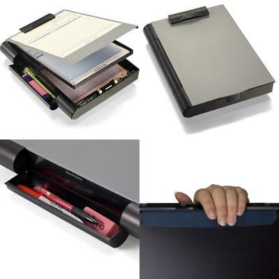Locking Storage Aluminum Vaultz Clipboard Hard Black Solid Briefcase Case Paper