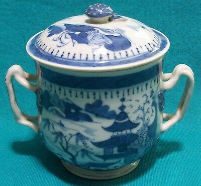 Antique Canton Blue Porcelain Two Handled Covered Cup Hawaii Museum Deaccession