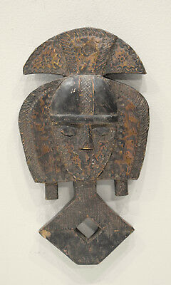 African Mask Bakota Reliquary Copper Gabon Mask 14""