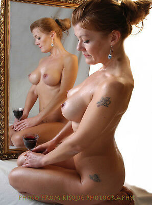 "Nude Woman With Wine 8.5x11"" Photo Print Naked Female Modern Photography Art"
