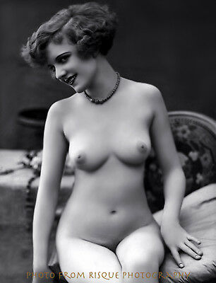 """Vintage Nude Woman Pretty Smile 8.5x11"""" Print French Postcard Image Naked Female"""