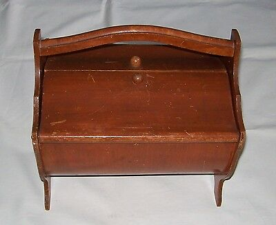 Nice Collectible Small Vintage Wooden Sewing Box With Handle And 2 Hinged Lids!