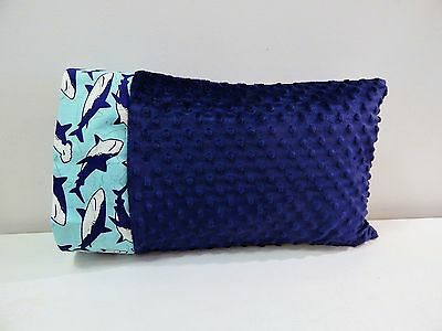 NWT Shark Blue Minky Dot Toddler Pillowcase 12 x16 Boy Nap Bed Ocean Beach Fish