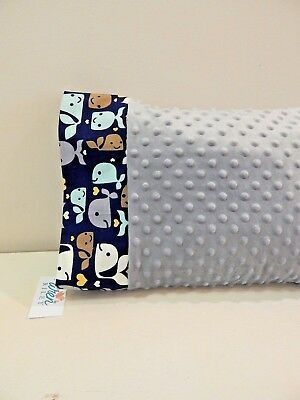 NWT Gray Whale Minky Toddler Pillowcase 12x16 Nap mat Bed Ocean Nautical Beach
