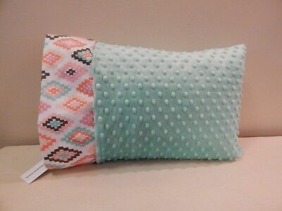 NWT Aztec Pink Teal Aqua Minky Toddler Pillowcase 12x16 Girl Nap mat Bed southwe