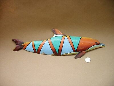 "A Vintage 18"" Long Made In Haiti Hand Painted Metal Dolphin For Wall Or Yard Art"