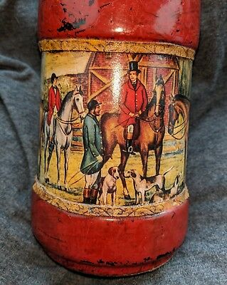 Vintage Classic Fox Hunting Scene Decanter, with Leather Wrap Accents