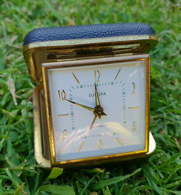 Vintage Europa wining 2 jewels travel alarm clock in travel case spare / repair