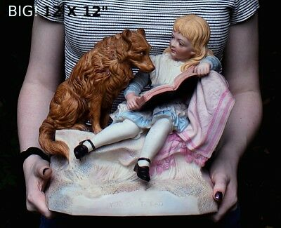 Heubach Era Victorian Piano Baby Girl Reading to Dog Collie Lab Bisque figurine