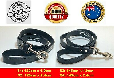 Genuine Leather Dog Lead Collar Harness SEWN Thick Solid w Strong Clip 4 Sizes