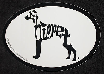 Whippet Oval Euro Style Car Dog Decal Sticker