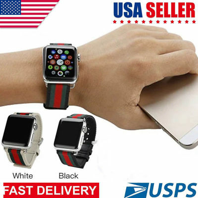 2ac363b4f65 Apple Watch Band Strap Sport Replacement Leather Band 38mm or 42mm Gucci  Pattern