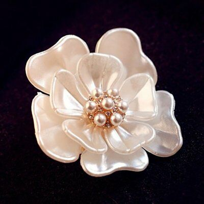 Elegant White Flower Crystal Pearl Brooch Pin Women Wedding Bridal DIY Jewelry