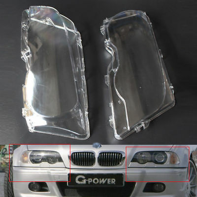 Pair HEADLIGHT COVER LENS Fit For 1999-03 BMW E46 2DR M3 01-06 Base Coupe 2 Door