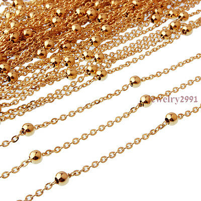 "16""-24"" Womens Wholesale in Bulk Gold Stainless Steel Rolo Chain Beads Necklace"