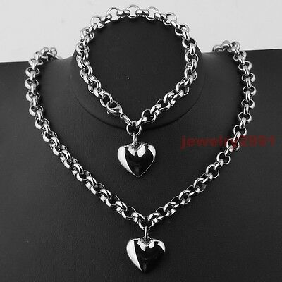 Women Vague Silver Stainless Steel Rolo Chain Heart Charm Necklace Bracelet