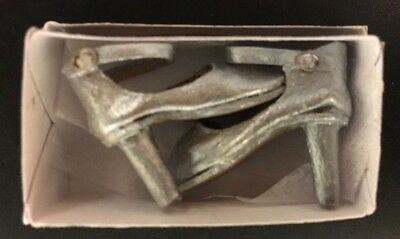 THE DOLLS COBBLER LADIES MINIATURE SILVER HIGH HEEL SHOES with shoe box