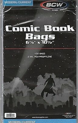 """New! 100 Poly 2 MIL BCW Comic Book Bags 6 7/8' X 10 1/2"""" Modern/Current FREE S&H"""