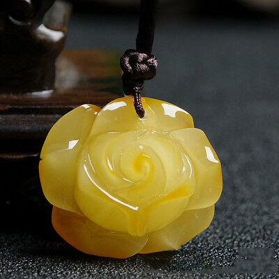 29mm Chicken Oil Yellow Amber Pendant Bead Necklace Peony Flower Sweater Chain