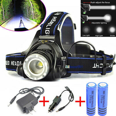 900000Lumens Head Torch Lamp T6 LED Headlamp Rechargeable Headlight & 2* Charger