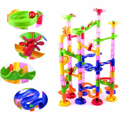 80/105Pcs DIY Construction Marble Race Run Maze Balls Track Building Blocks HMA