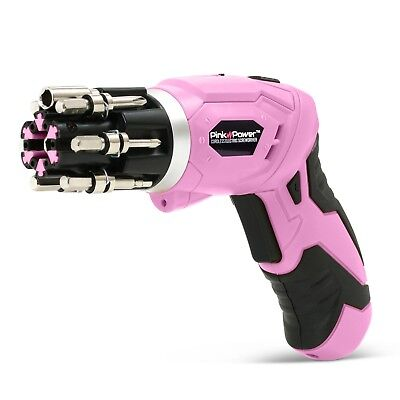 Pink Power 3.6 Volt Rechargeable Cordless Electric Screwdriver Set with Bubble L