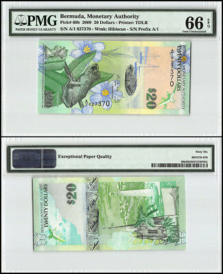 Bermuda 20 Dollars, 2009, P-60b, Whistling Frog, Church, Lighthouse, PMG 66
