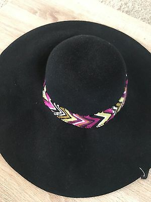 MISSONI FOR TARGET BLACK OR BROWN WIDE BRIM  FELT HAT
