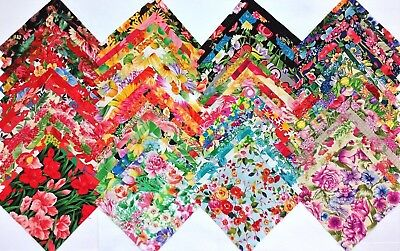 "50 SUMMER FLORAL  Cotton Quilting Patchwork Fabric 5"" Charm Squares FLOWERS"