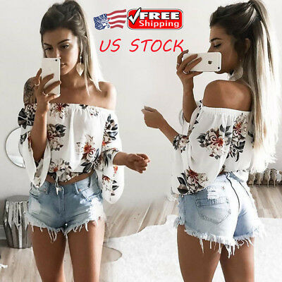 Fashion Women Ladies Off Shoulder Floral Casual T-Shirt Summer Crop Tops Blouse