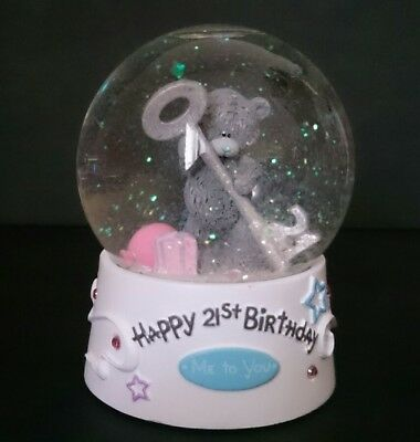 SNOW DOME /Snow globe Happy 21st birthday featuring a Teddy with a 21st Key