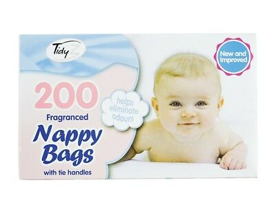 200 Disposable Baby Nappy Bin Bags Sacks Fragranced Scented Perfumed Tie Handles