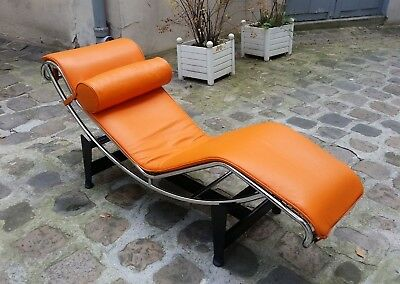 Édition Longue Corbusier Lc4 Grainé Chaise Cassina 2010 Cuir Le Orange drtQshC