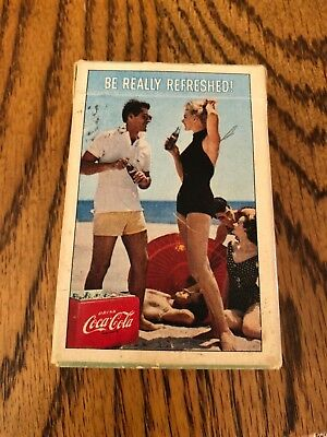 """1960 Vintage Coca-Cola Playing Cards Deck Beach Party """"Be Really Refreshed"""" Coke"""