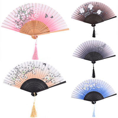 New Chinese Silk Flower Butterfly Folding Hand Fan Party Decoration Favors