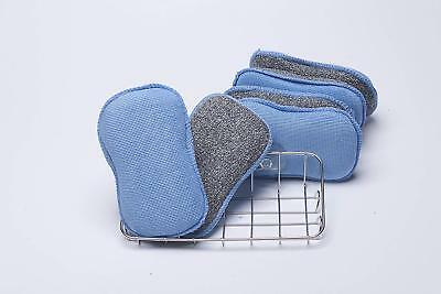 LTWHOME Dual Sided 2 in 1 Tuff Scrub Washing Up Pad with Large Sponge Holder